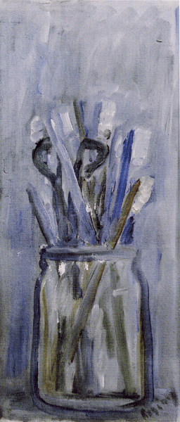 Toothbrushes in a jar